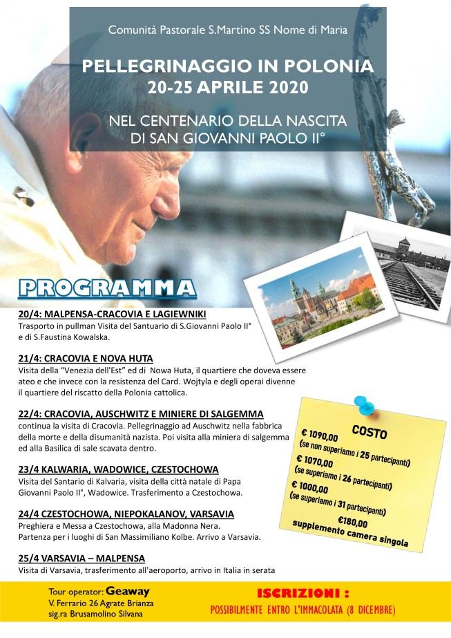Volantino pellegrinaggio POLONIA 2019